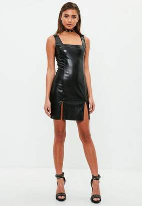 Missguided Black Faux Leather Bodycon Dress