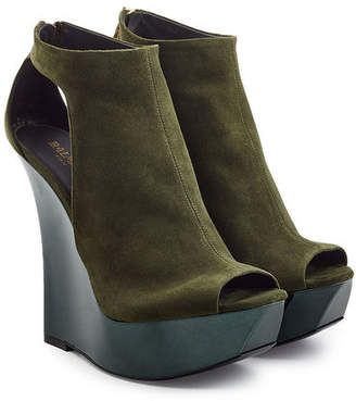 Balmain Suede Wedge Sandals
