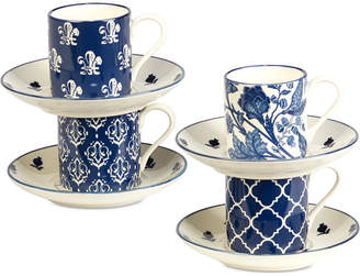 Certified International 8-Pc. Blue Indigo Espresso Cups & Saucers Set