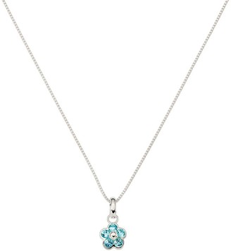 "Sterling Silver Flower Gemstone Pendant w/16"" Necklace"
