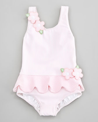 Florence Eiseman Tickled Pink Ruffled Swimsuit, Sizes 12-24 Months