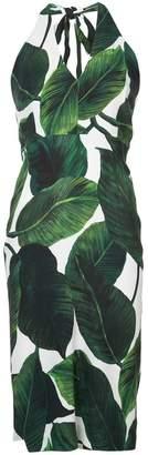 Milly leaf print halter dress