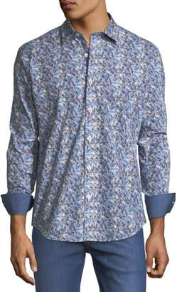 Bugatchi Shaped-Fit Floral-Sketch Sport Shirt