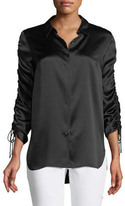 Elie Tahari Soma Silk Ruched-Sleeve Blouse