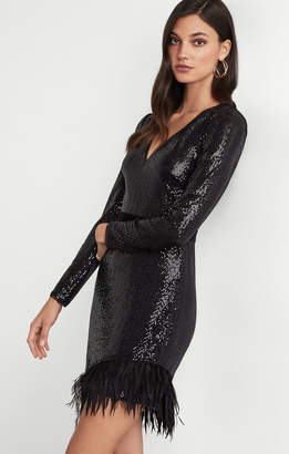 BCBGMAXAZRIA Sequin and Feather Dress
