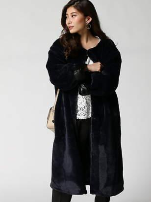 Girl レザーベルト付きエコファーロングコート パーティードレスツウハン ガール コート/ジャケット