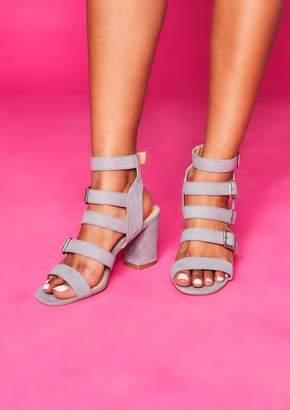 f50e17c2a6 Missy Empire Missyempire Hannah Grey Multi Strap Buckle Block Heels