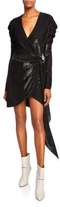 Jonathan Simkhai Metallic Puff-Sleeve Belted Short Dress