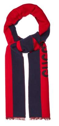 Gucci - Guccy Appliqué Striped Wool And Silk Blend Scarf - Mens - Navy Multi