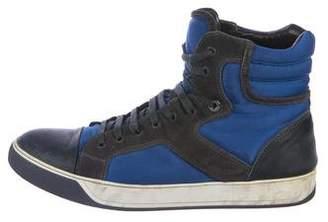Lanvin Suede-Trimmed High-Top Sneakers