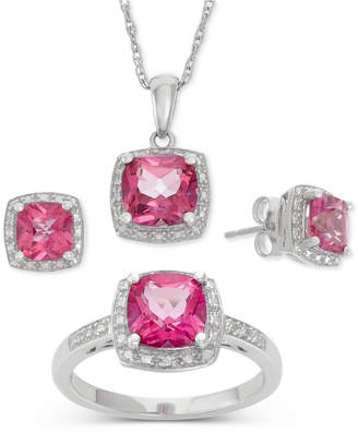 Macy's Pink Topaz (6-1/5 ct. t.w.) and Diamond Accent Jewelry Set in Sterling Silver