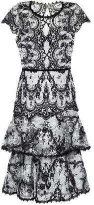Marchesa Tiered Embroidered Lace Dress