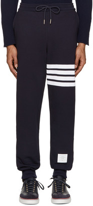 Thom Browne Navy Classic Lounge Pants $570 thestylecure.com