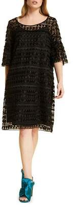 Marina Rinaldi Plus Size Diaspro Patterned Lace 3/4-Sleeve Dress