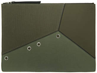 Loewe Khaki Large Puzzle Pouch