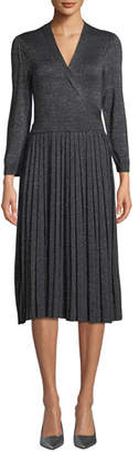 Kate Spade Metallic Pleated Knit Wrap Dress