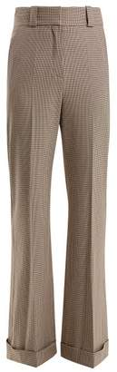 See by Chloe Checked Wide Leg Cuffed Trousers - Womens - Beige Multi