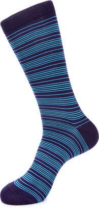 Jared Lang Stripe-Print Cotton-Blend Socks, Purple/Blue $15 thestylecure.com
