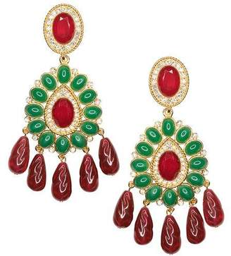 Kenneth Jay Lane Ruby And Emerald Drop Clip Earrings