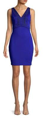 GUESS Embroidered V-Neck Sheath Dress
