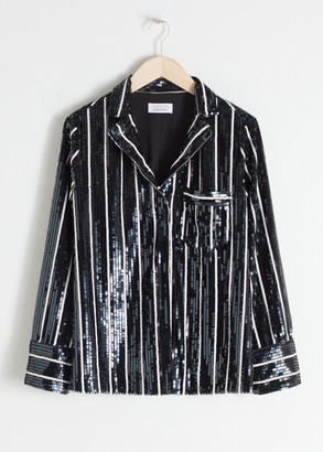 And other stories Striped Sequin Lounge Shirt