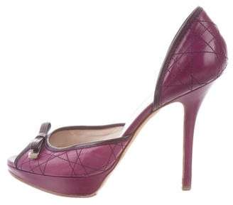 Christian Dior Quilted Peep-Toe Pumps