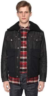 DSQUARED2 Denim & Nylon Down Jacket W/ Shearling