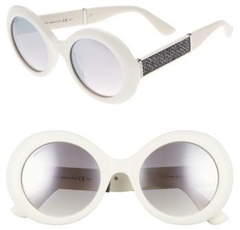 Jimmy ChooWomen's Jimmy Choo Wendy 51Mm Round Sunglasses - White/ Glitter/ White