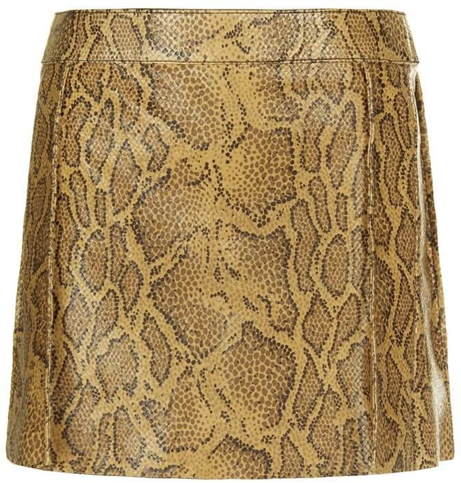 Python Print Leather Mini Skirt