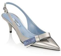 Prada Kitten Heel Leather Slingback Pumps