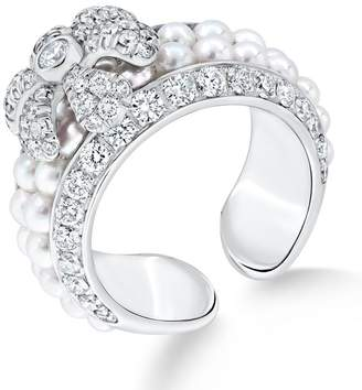 David Morris White Gold Pearl Rose Flower Ring