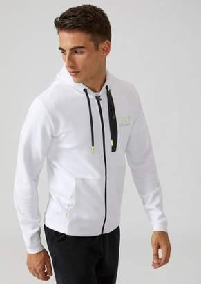 Emporio Armani Ea7 Hooded Sweatshirt In Technical Fabric