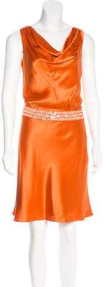 Carmen Marc Valvo Silk Embellished Dress