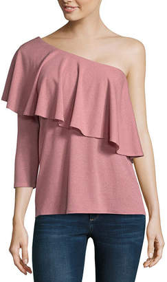 BELLE + SKY Long Sleeve One Shoulder Ruffle Top