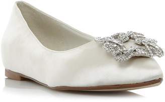 Dune LADIES BRIELLA - Jewelled Square Brooch Pointed Toe Flat Shoe
