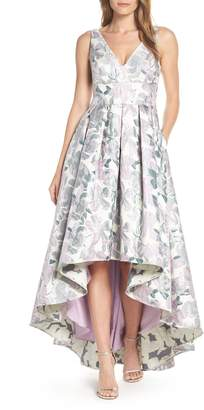 Eliza J Floral Jacquard High/Low Evening Dress