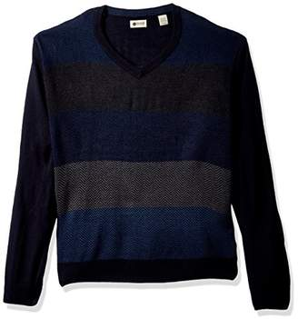 Haggar Men's Soft Acrylic All Over Herringbone V Neck Sweater