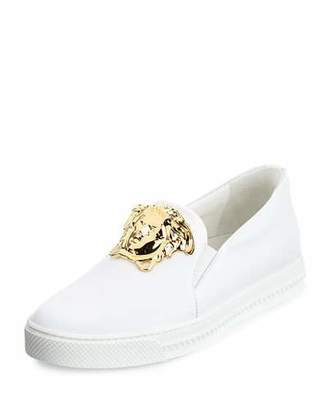 Versace Leather Slip-On Sneaker with Golden Medusa Head, White $975 thestylecure.com