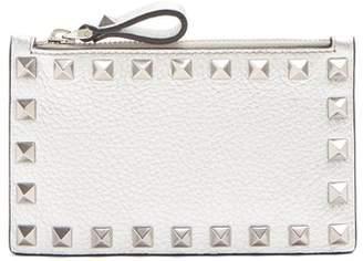 Valentino Rockstud Leather Cardholder - Womens - Silver