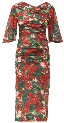 Dolce & Gabbana Ruched Geranium Print Silk Blend Midi Dress - Womens - Red Multi