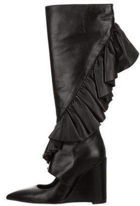 J.W.Anderson Ruffle-Trimmed Wedge Boots Black Ruffle-Trimmed Wedge Boots