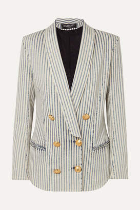00d36d600415 Balmain Double-breasted Striped Stretch-denim Blazer - Light blue