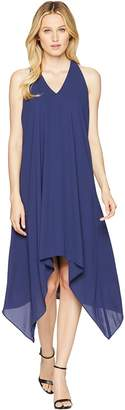Maggy London Silky Georgette Halter Dress with Draped Back Women's Dress