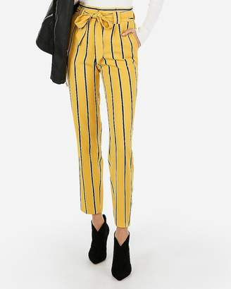 Express High Waisted Striped Sash Tie Ankle Pant