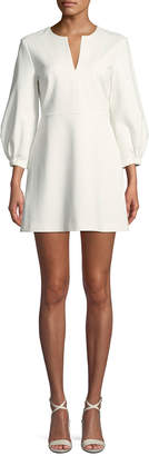 Tibi Split-Neck Pouf-Sleeve Knit Mini Dress