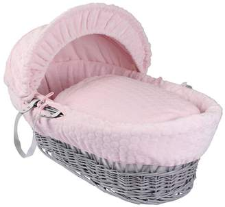 Clair De Lune Marshmallow Wicker Moses Basket -Grey
