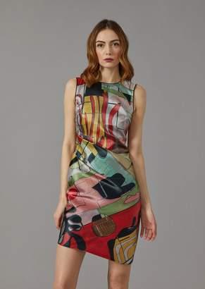 Giorgio Armani Satin Dress With Abstract Pattern