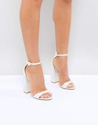 Ralph Lauren Be Mine Bridal Ivory Satin Flared Block Heeled Sandals