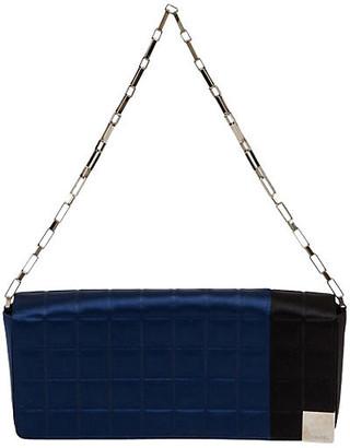 One Kings Lane Vintage Chanel Black & Blue Evening Silk Bag - Vintage Lux