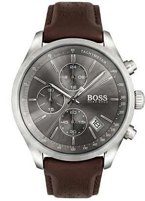 Hugo Boss Black Hugo Boss Black Grand Prix Grey Chronograph Dial Brown Leather Strap Mens Watch